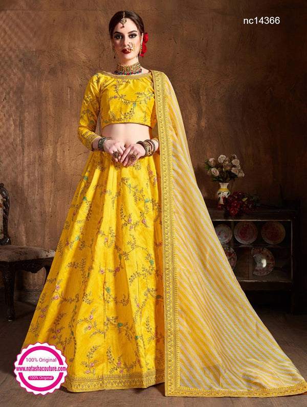 Yellow Silk Lehenga Choli NC14366