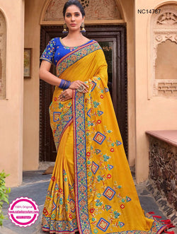 Yellow Silk Satin Saree NC14787