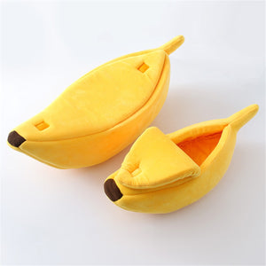 Banana Shape Pet Bed - Proceeds Help Benefit Puffy Paws Kitty Haven 200 Special Needs Kitties