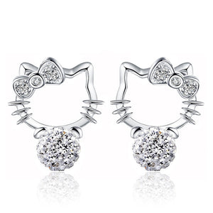 Hello Kitty 925 Sterling Silver Earrings - Proceeds Help Support Puffy Paws Cat Hospice for Special Need Kitties