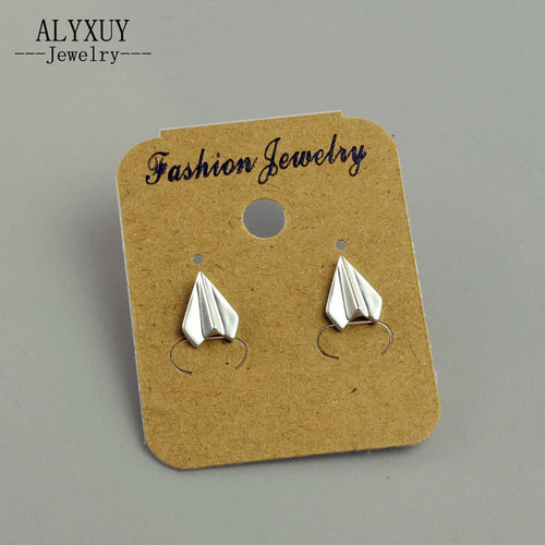 Fashion jewelry gold silver color Paper airplane stud for women men lovers' gift 1lot=2pairs E3289