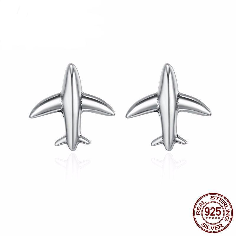 100% Sterling Silver Exquisite Mini Airplane Aircraft Stud Earrings