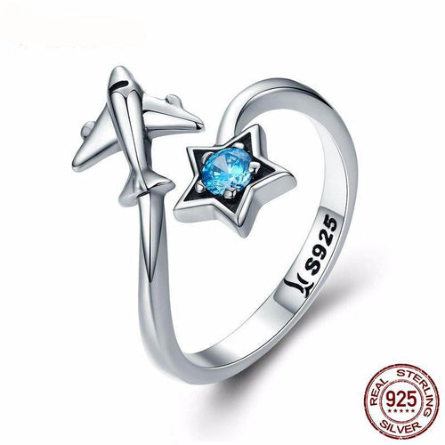 BAMOER 100% 925 Sterling Silver Star & Plane Ring Sterling Silver Jewelry