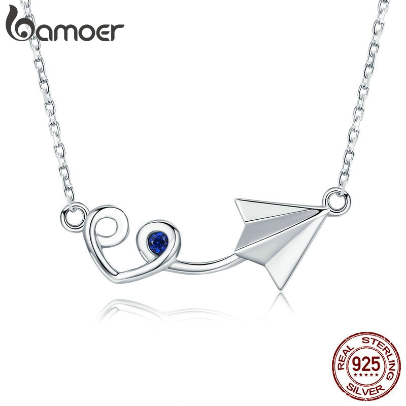 BAMOER  Genuine 925 Sterling Silver Paper Plane with Heart Pendant Necklace