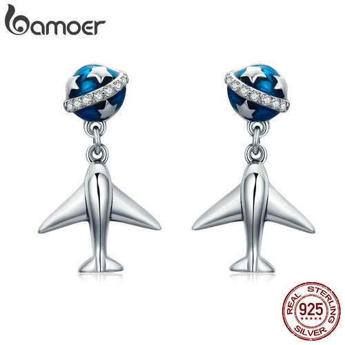 BAMOER 100% 925 Sterling Silver Star Tours Planet & Plane Drop Earrings