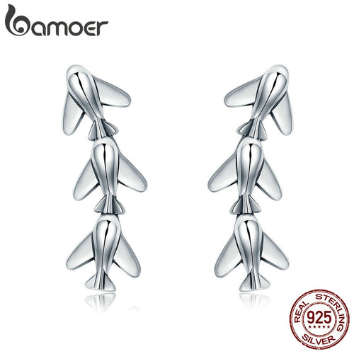 BAMOER  100% 925 Sterling Silver Stackable Plane Drop Earrings