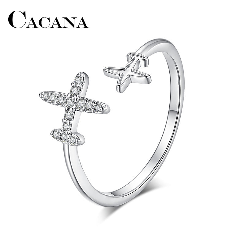 CACANA Silver Plated Rings Adjustable Airplane