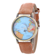 Load image into Gallery viewer, Global Travel By Plane Map Watch