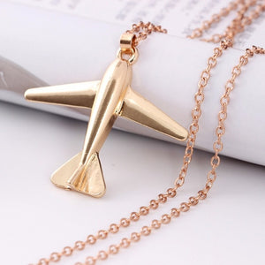 Silver Gold Plane Necklace Airplane
