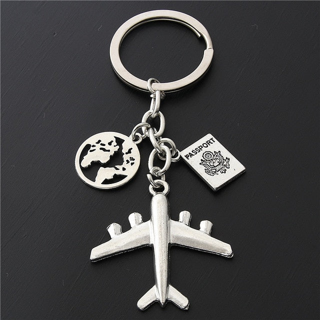 World Map Airplane Key Chain