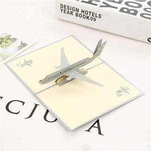 3d Pop Up Greeting Card Silver Airplane