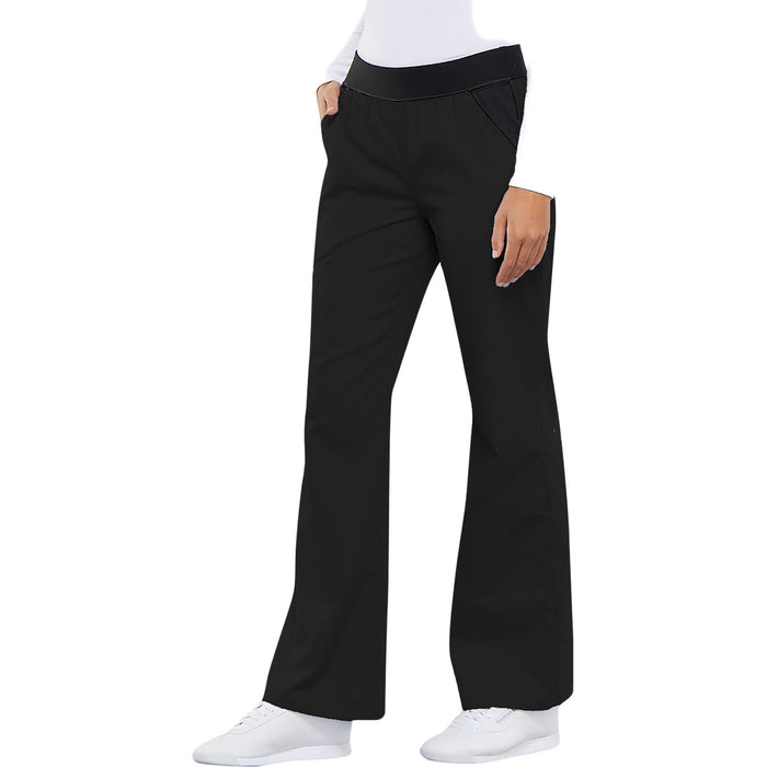 Cherokee Flexibles 1031 Scrubs Pants Women's Mid Rise Knit Waist Pull-On Black