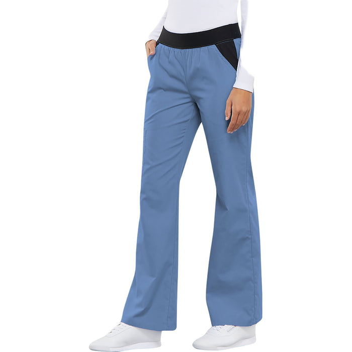 Cherokee Flexibles 1031 Scrubs Pants Women's Mid Rise Knit Waist Pull-On Ciel Blue