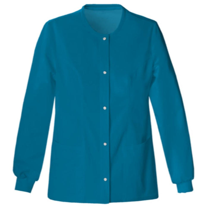 Cherokee Luxe 1330 Scrubs Jacket Women's Snap Front Warm-Up Caribbean Blue