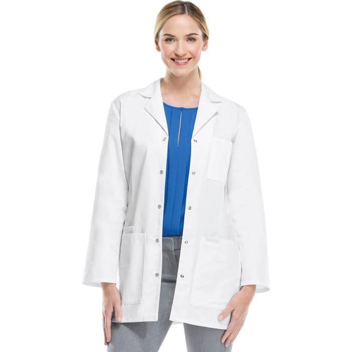 "Cherokee Workwear Professionals 1369 Lab Coat Women's 32"" Snap Front White"