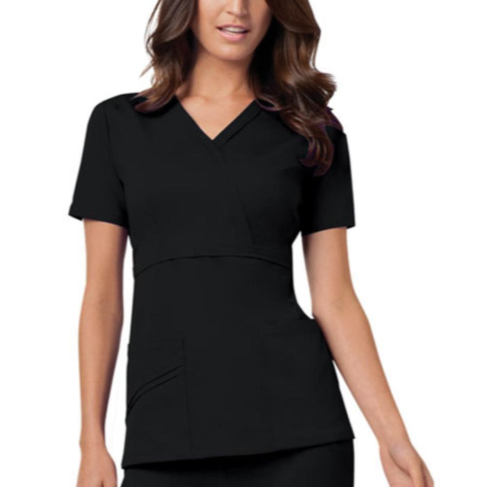Cherokee Luxe 1841 Scrubs Top Women's Mock Wrap Black