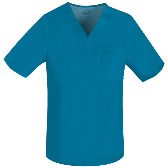 Cherokee Luxe 1929 Scrubs Top Men's V-Neck Caribbean Blue