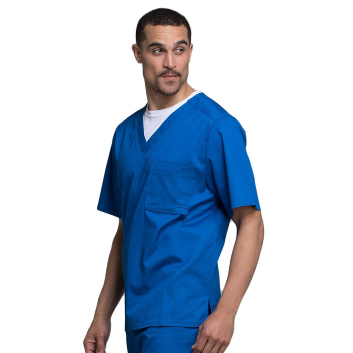 Cherokee Luxe 1929 Scrubs Top Men's V-Neck Royal 4XL