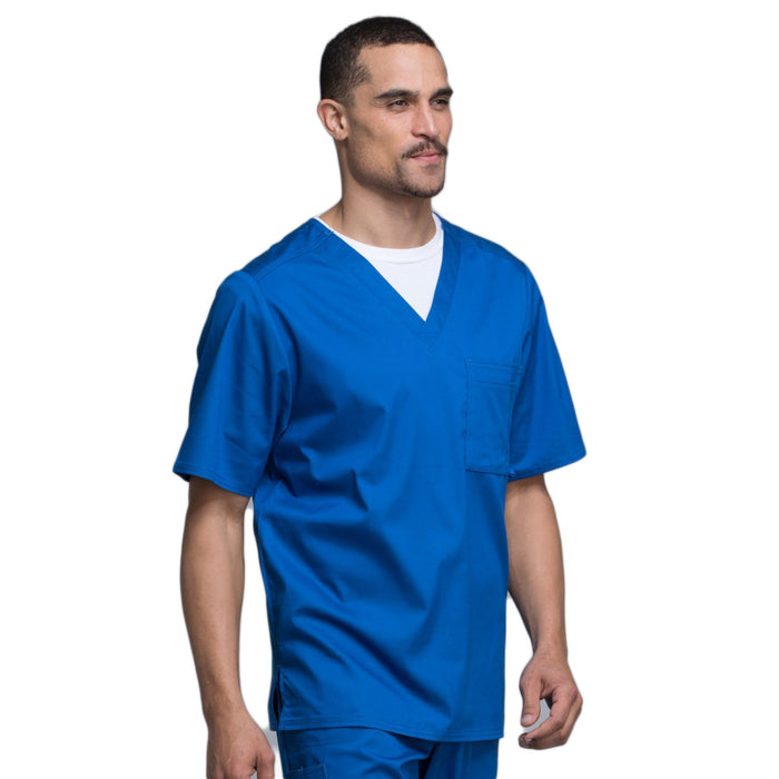 Cherokee Luxe 1929 Scrubs Top Men's V-Neck Royal 5XL