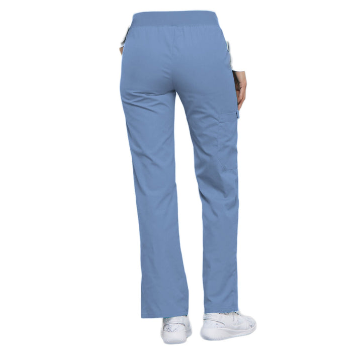 Cherokee Flexibles 2085 Scrubs Pants Women's Mid Rise Knit Waist Pull-On Ciel Blue 3XL