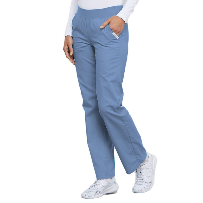 Cherokee Flexibles 2085 Scrubs Pants Women's Mid Rise Knit Waist Pull-On Ciel Blue 4XL
