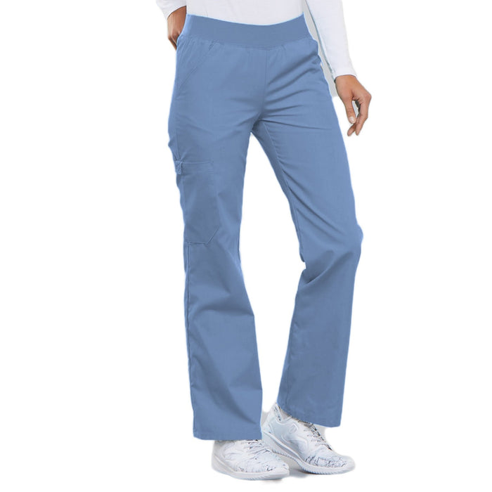 Cherokee Flexibles 2085 Scrubs Pants Women's Mid Rise Knit Waist Pull-On Ciel Blue 5XL