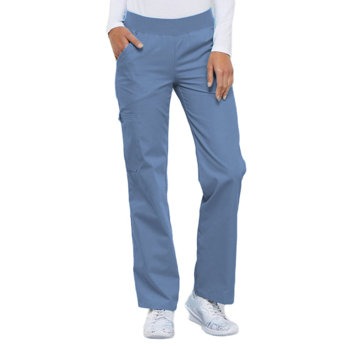 Cherokee Flexibles 2085 Scrubs Pants Women's Mid Rise Knit Waist Pull-On Ciel Blue
