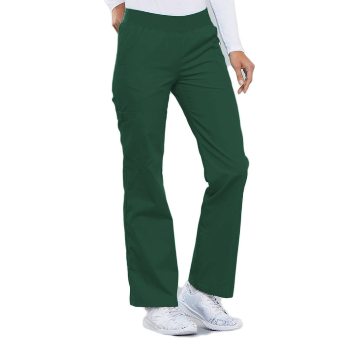 Cherokee Flexibles 2085 Scrubs Pants Women's Mid Rise Knit Waist Pull-On Hunter Green 4XL