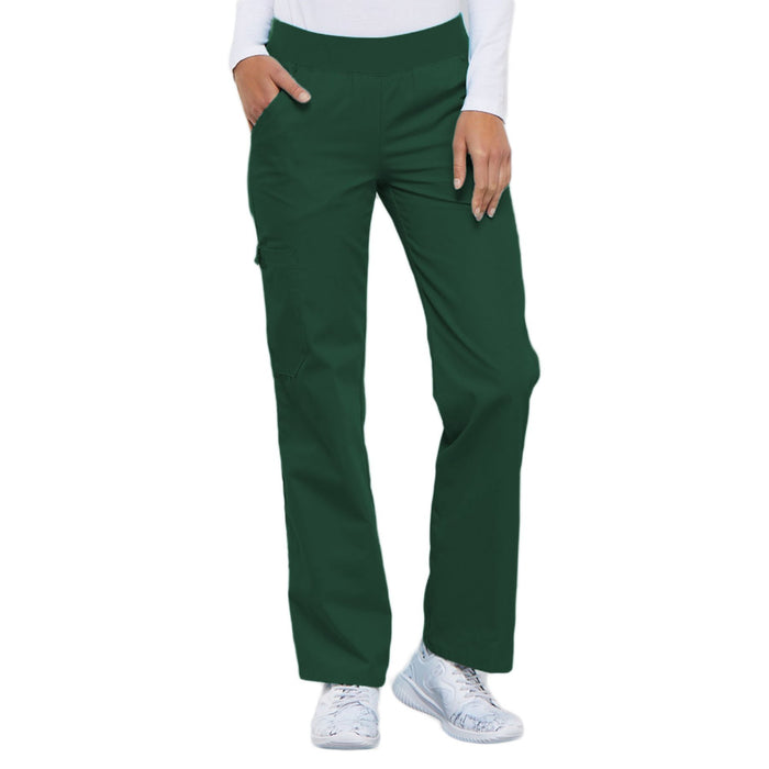 Cherokee Flexibles 2085 Scrubs Pants Women's Mid Rise Knit Waist Pull-On Hunter Green