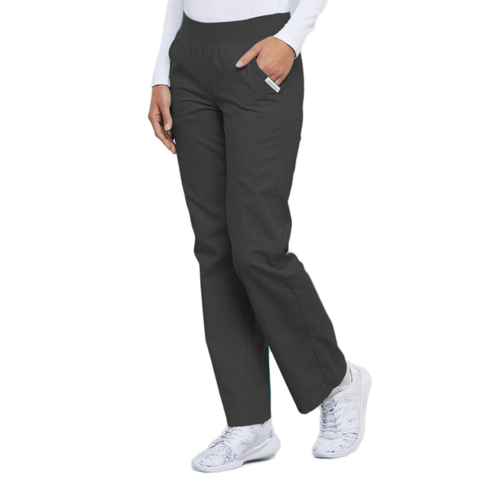 Cherokee Flexibles 2085 Scrubs Pants Women's Mid Rise Knit Waist Pull-On Pewter 3XL