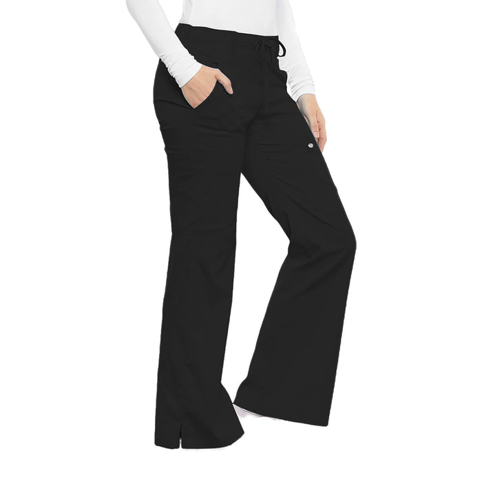 Cherokee Luxe 21100 Scrubs Pants Women's Low Rise Flare Leg Drawstring Cargo Black 3XL