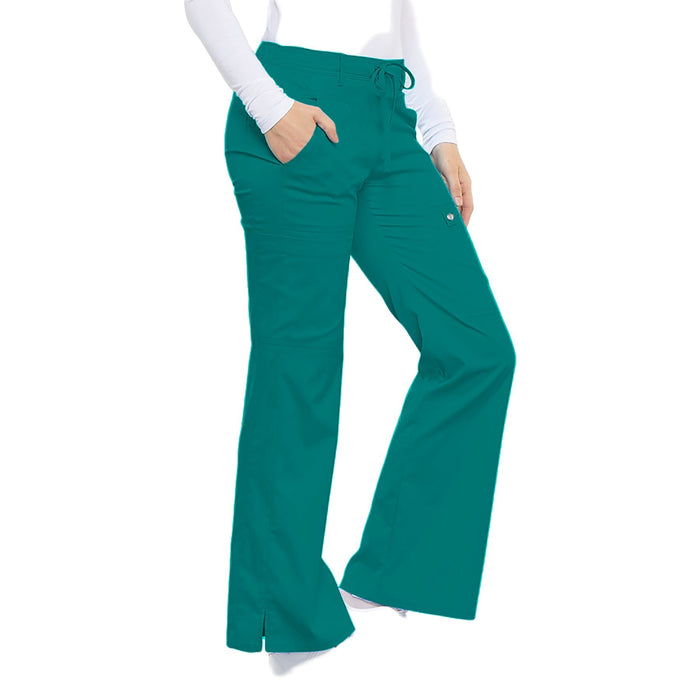 Cherokee Luxe 21100 Scrubs Pants Women's Low Rise Flare Leg Drawstring Cargo Teal Blue L