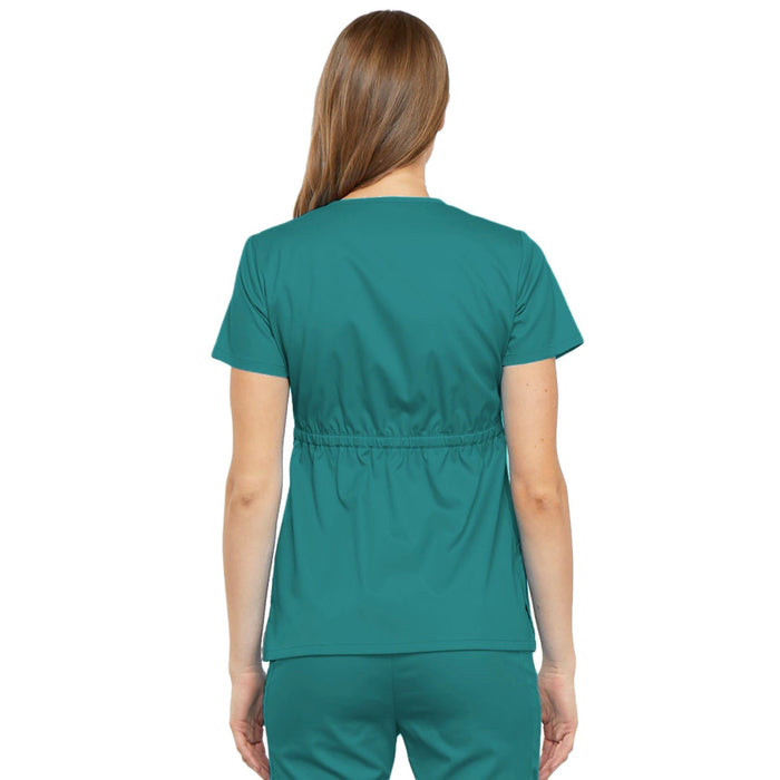 Cherokee Luxe 21701 Scrubs Top Women's Empire Waist Mock Wrap Teal Blue 3XL