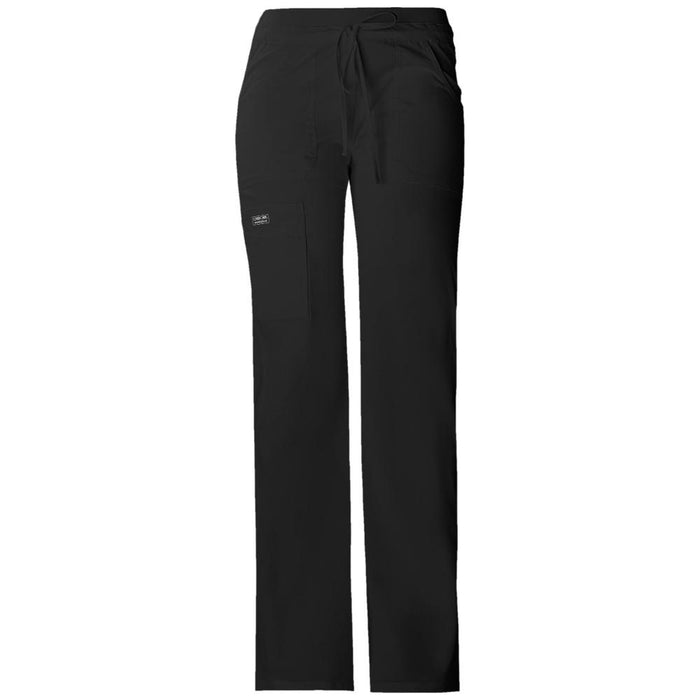 Cherokee Workwear Core Stretch 24001 Scrubs Pants Women's Low Rise Drawstring Cargo Black