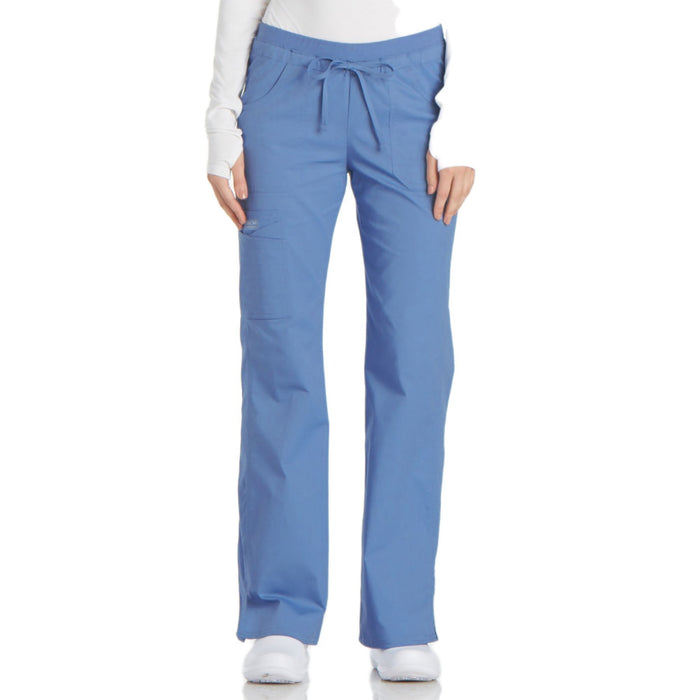 Cherokee Workwear Core Stretch 24001 Scrubs Pants Women's Low Rise Drawstring Cargo Ceil Blue