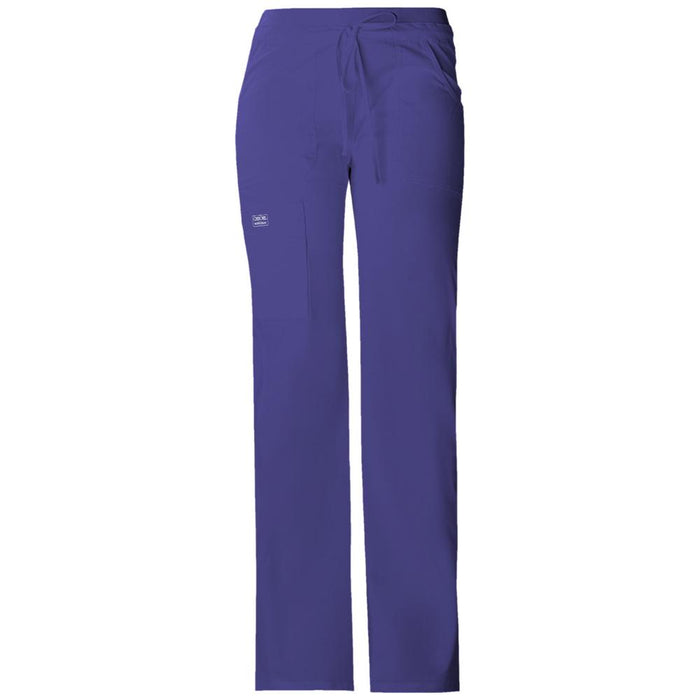 Cherokee Workwear Core Stretch 24001 Scrubs Pants Women's Low Rise Drawstring Cargo Grape