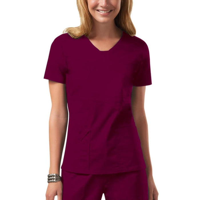 Cherokee Workwear Core Stretch 24703 Scrubs Top Women's V-Neck Wine