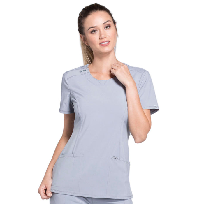 Cherokee Infinity 2624A Scrubs Top Women's Round Neck Grey