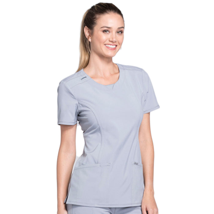 Cherokee Infinity 2624A Scrubs Top Women's Round Neck Grey 4XL