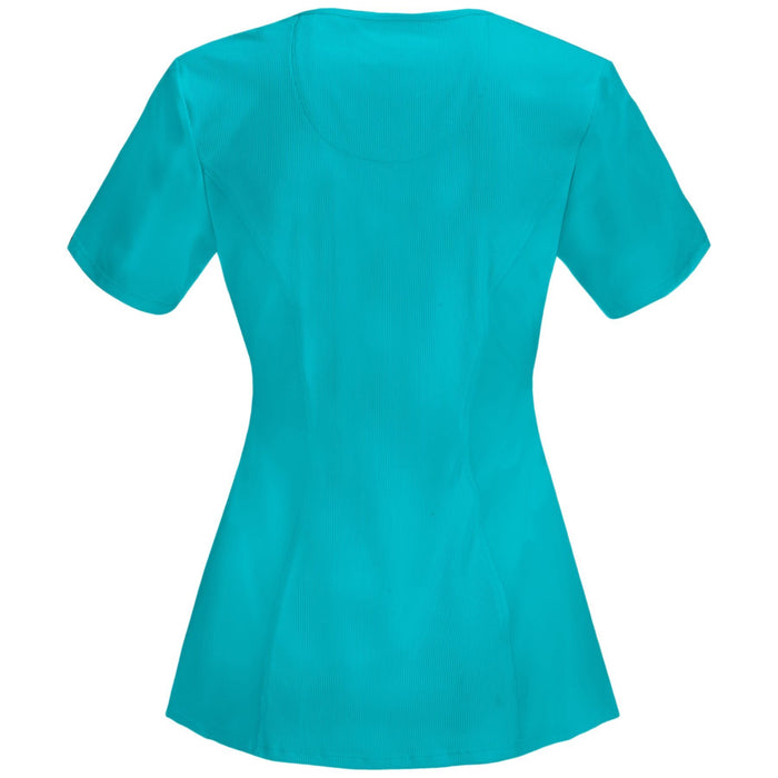 Cherokee Infinity 2624A Scrubs Top Women's Round Neck Teal Blue
