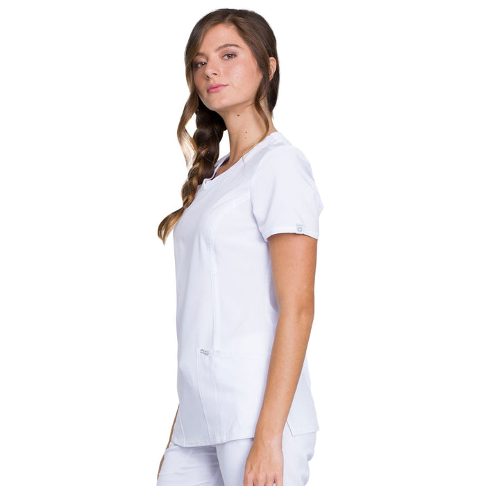 Cherokee Infinity 2624A Scrubs Top Women's Round Neck White 4XL