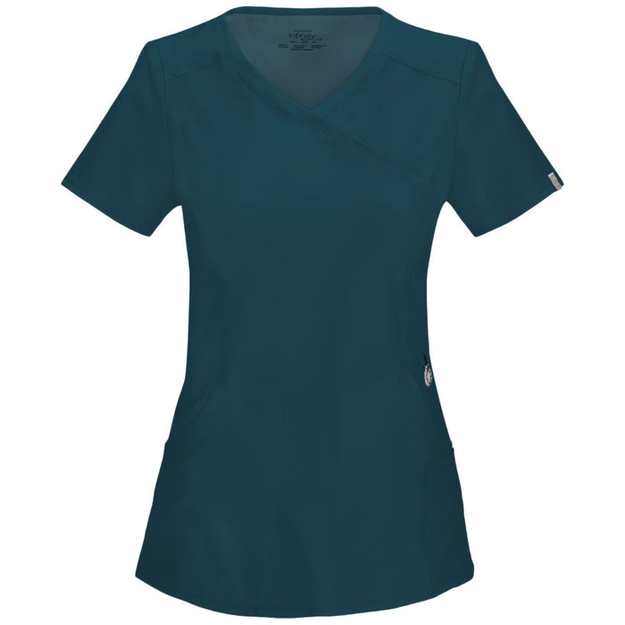 Cherokee Infinity 2625A Scrubs Top Women's Mock Wrap Caribbean Blue