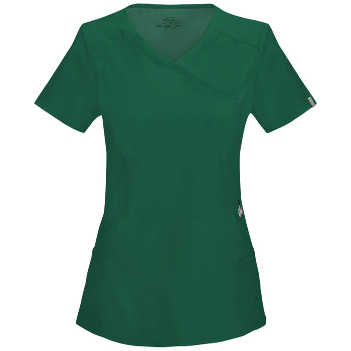 Cherokee Infinity 2625A Scrubs Top Women's Mock Wrap Hunter Green