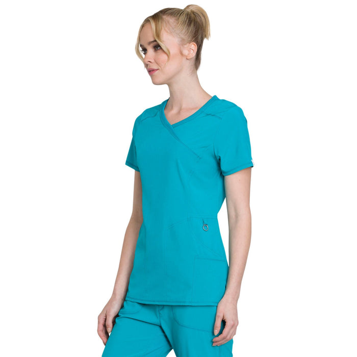 Cherokee Infinity 2625A Scrubs Top Women's Mock Wrap Teal Blue 4XL