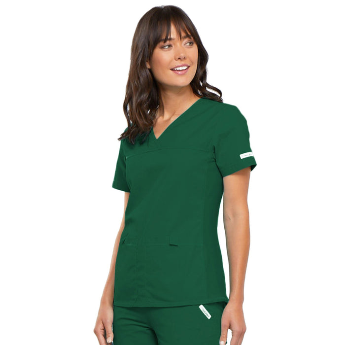 Cherokee Flexibles 2968 Scrubs Top Women's V-Neck Knit Panel Hunter Green 4XL