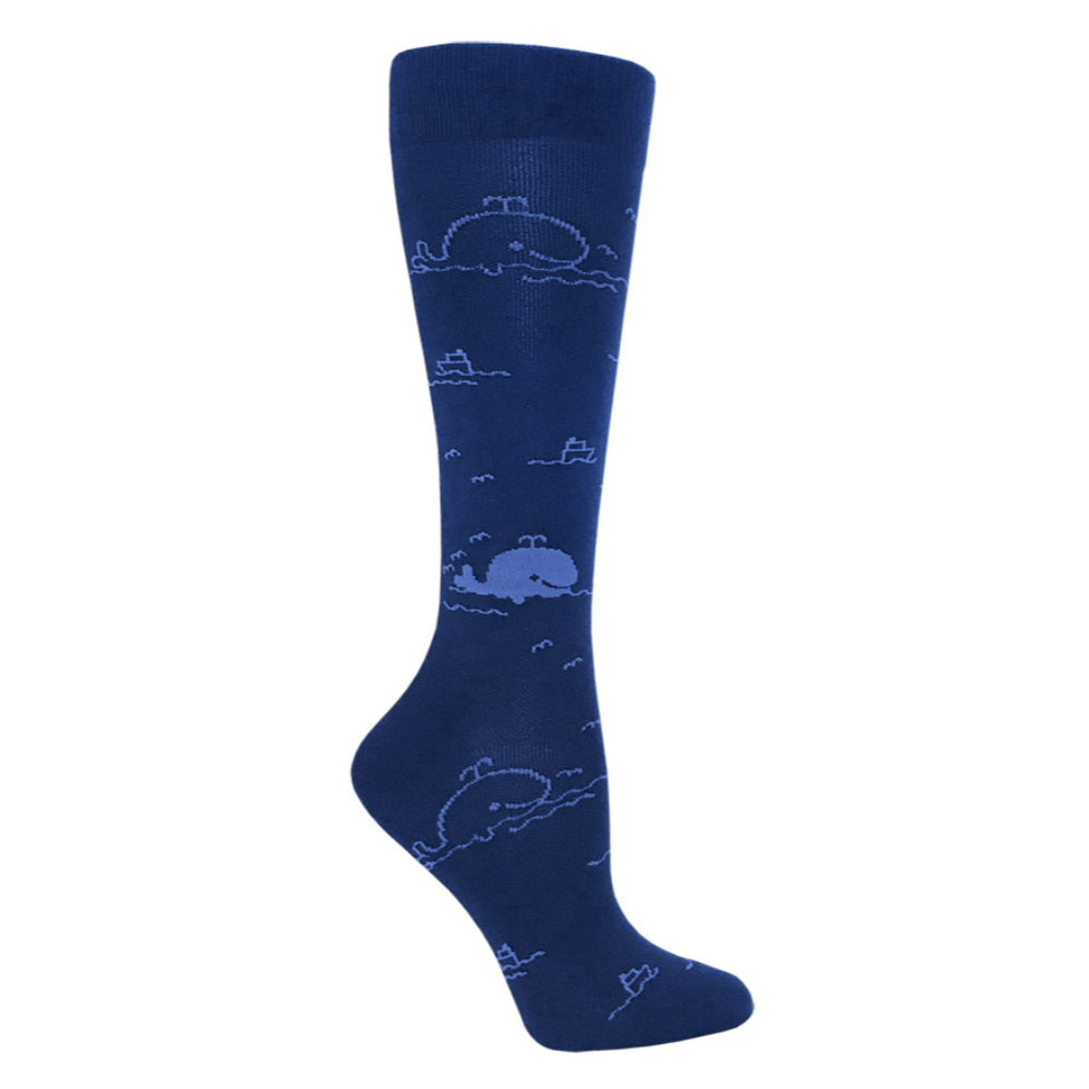 "Prestige 12"" premium compression socks Whales Blue and Navy"