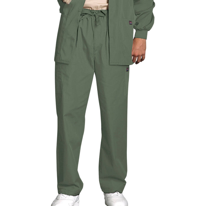 Cherokee Workwear 4000 Scrubs Pants Men's Drawstring Cargo Olive