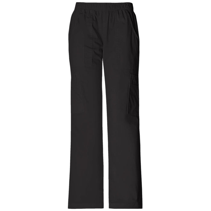 Cherokee Workwear Core Stretch 4005 Scrubs Pants Women's Mid Rise Pull-On Cargo Black