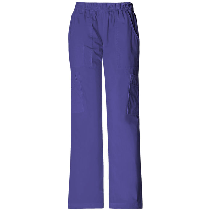 Cherokee Workwear Core Stretch 4005 Scrubs Pants Women's Mid Rise Pull-On Cargo Grape