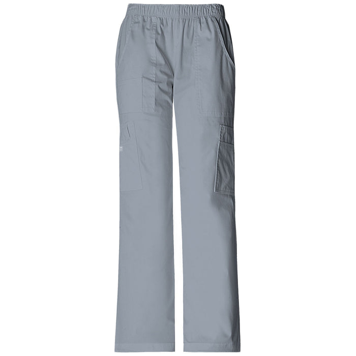 Cherokee Workwear Core Stretch 4005 Scrubs Pants Women's Mid Rise Pull-On Cargo Grey